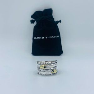 David Yurman SS Double X 18k Gold Crossover Ring